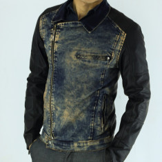 Geaca de blugi barbati - tip zara - piele ecologica - slim fit - fashion - Geaca barbati, Marime: XL, Culoare: Din imagine