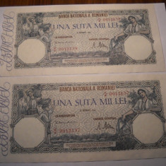 100000 lei 1946 Decembrie XF++ AUNC Serii Consecutive - Bancnota romaneasca