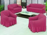 Set huse canapea 3 locuri si 2 huse fotoliu culoare FUCSIA