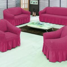 Set huse canapea 3 locuri, canapea 2 locuri si 1 fotoliu culoare FUCSIA - Husa pat