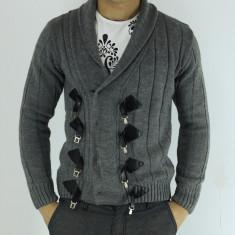 Pulover barbati lana crosetat - gri- slim fit - fashion, Marime: S/M