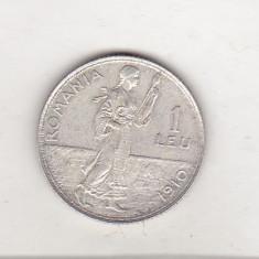Bnk mnd Romania 1 leu 1910 argint, Bruxelles - Moneda Romania