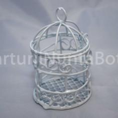 Marturii nunta/botez Colivie metalica alba, model deosebit, CEL MAI MIC PRET