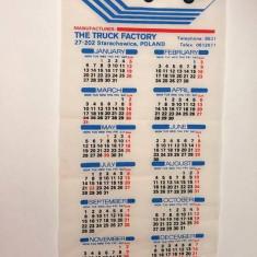 Calendar perete material textil 1986Polonia, fabrica de camioane STAR, 69x28cm - Calendar colectie