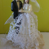 Mireasa si Mire decor vintage, plastic cu dantela, 13cm - Decoratiuni nunta