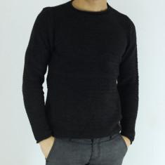 Pulover barbati gri inchis guler baza gatului slim fit elegant casual, Marime: XL