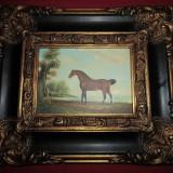 Tablou pictura pe placaj incadrat intr~o rama foarte bogat ornata 33x29 cm - Pictor strain, Portrete, Ulei, Altul