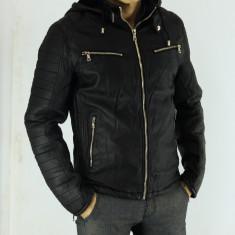 Geaca de piele ecologica barbati groasa imblanita Neagra Slim Fit Casual - Geaca barbati, Marime: XXXL, Culoare: Negru