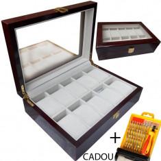 Cutie depozitare ceasuri LEMN 10 spatii Cutie organizare ceasuri  + CADOU