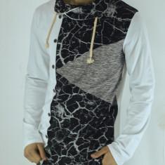 Bluza barbati - tip zara - in colt - alb cu negru - slim fit - fashion, Marime: XL, Culoare: Din imagine
