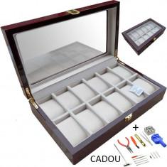 Cutie depozitare ceasuri Cutie ceasuri lemn Cutie expunere ceasuri + CADOU
