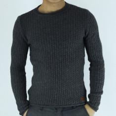 Pulover barbati gri tricotat guler baza gatului slim fit elegant casual, Marime: L, XL