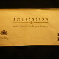 Plic +Invitatie +1 vaucher 25% reducere la Restaurant Cazinou Casa Vernescu - Cartonas de colectie