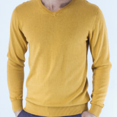 Pulover barbati mustar galben guler anchior slim fit elegant casual fashion, Marime: M