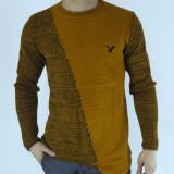 Pulover barbati tip zara - mustar - guler baza gatului - slim fit - elegant
