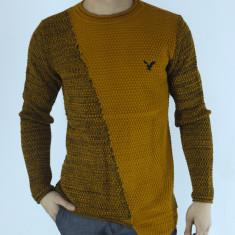 Pulover barbati tricotat mustar guler baza gatului slim fit elegant casual, Marime: XL