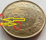 Moneda ISTORICA 100 Lei - ROMANIA / REGAT, anul 1943 *cod 3813 - SURPLUS FIER