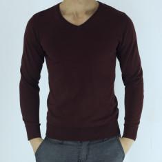 Pulover barbati - tip zara - grena - guler anchior - slim fit - elegant, Marime: S