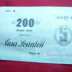 Bon de 200 lei Casa Scanteii Actiune Nominala
