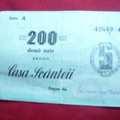 Bon de 200 lei Casa Scanteii Actiune Nominala - Cambie si Cec