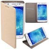Husa/Toc LUX Flip Gold Samsung Galaxy J5 (J500) 2015, Piele Ecologica