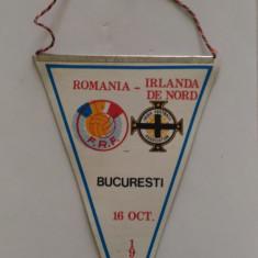 FANION ROMANIA IRLANDA DE NORD PRELIMINARII CAMP. MONDIAL BUCURESTI 16 10 1985
