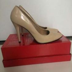 Pantofi Stiletto 100% piele lacuita, Nude, marimea 38.5 - Pantof dama
