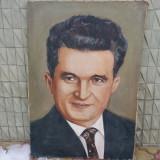 DAN HATMANU - pictor iesean - portret -NICOLAE CEAUSESCU - ulei / pînza - Pictor roman, Portrete, Altul