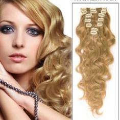 Extensii par 100% natural, ondulat, blond mediu 60 cm