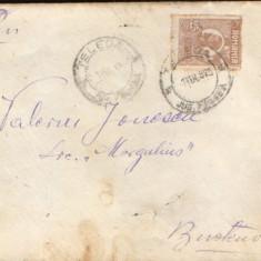 Scrisoare circ. de la Telega la Busteni, marca de 25 bani brun, Ferdinand bust mic, An: 1925
