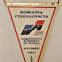 FANION ROMANIA CEHOSLOVACIA CAMPIONATUL EUROPEAN BUCURESTI 15 MAI 1983