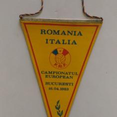 FANION ROMANIA ITALIA CAMPIONATUL EUROPEAN BUCURESTI 16 04 1983
