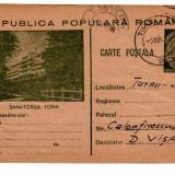 CARTE POSTALA  MARCA FIXA 30 BANI SANATORIUL TORIA 1953 intreg postal, Circulata, Printata