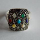 Inel din argint multicolor cu marcasite -1080 - Inel argint