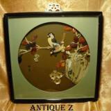 Tablou sculptura orientala, sidef/abalone, vintage