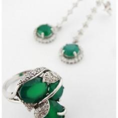 Set argint 925 smaralde si zirconii ( cercei + inel) - Set bijuterii argint