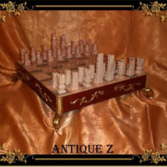 Unicat! Set sah stil Renastere Italiana, marmura/bambus/bronz, vintage