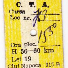 1.Bilet calatorie AUTOBUZ AUTO CTA 30 IUNIE 1984 Cluj Napoca pe verso D.G.T.A.