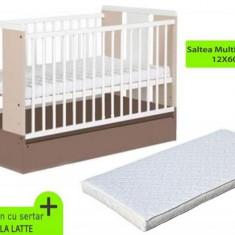Patut Cu Sertar Klups Paula Latte + Saltea Mykids Gryko - Patut lemn pentru bebelusi