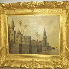 Ulei pe panza un tablou foarte vechi cu o rama deosebita lata