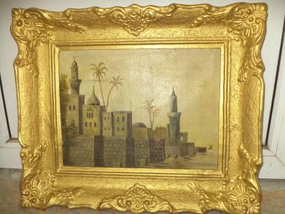 Ulei pe panza un tablou foarte vechi cu o rama deosebita lata foto
