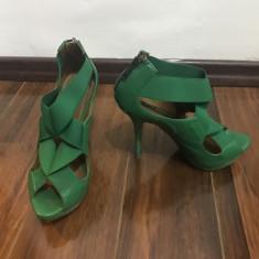 Pantofi - Pantof dama Zara, Culoare: Verde, Marime: 36, Cu toc