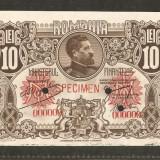 Specimen perforat 10 Lei-1920 Ferdinand ! rar ! - Bancnota romaneasca