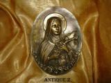 Placa, placheta Victoriana decorativa, bronz masiv, sec 19