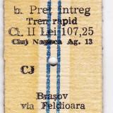 1.Bilet tren rapid CFR Cluj Napoca Brasov pret intreg 28 IUN 1985