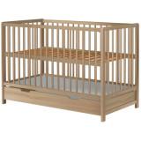 Patut Copii Din Lemn Hubners Dominic 120X60 Cm Natur Cu Sertar - Patut lemn pentru bebelusi
