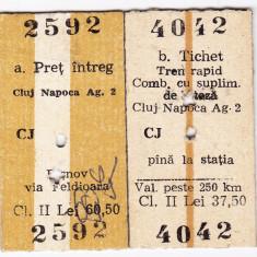 Bilet tren CFR Cluj Napoca Rasnov+Tichet rapid comb.cu supl.viteza 19 OCT 1984