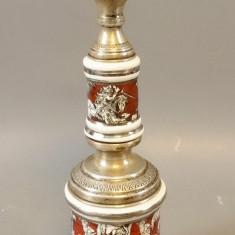 Lampa de masa (veioza) din argint si portelan, Veioze