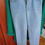 Jeans din denim cu talie inalta - Blugi dama, Marime: XS, Culoare: Albastru