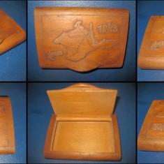 Ww2-Cutie Tigarete veche Krimea 1943 lemn manual executata soldat. - Cutie Ceas